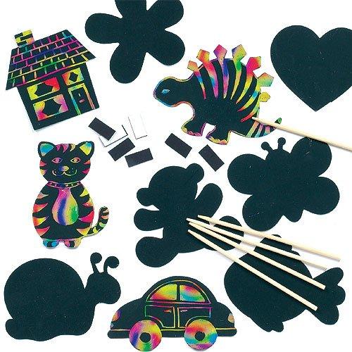 Kratzbild-Magneten in verschiedenen Formen scratch art mit Regenbogenfarben für Kinder zum Basteln - 10 Stück