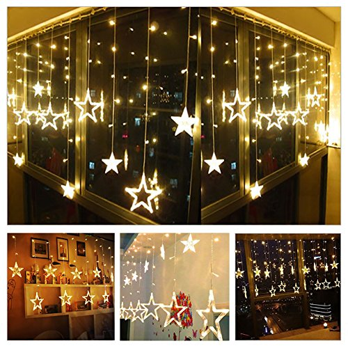 Twinkle Star 12 Stars 138 LED Curtain String Lights, Window Curtain Lights with 8 Flashing Modes Decoration Christmas, Wedding, Party, Home, Patio Lawn, Warm White
