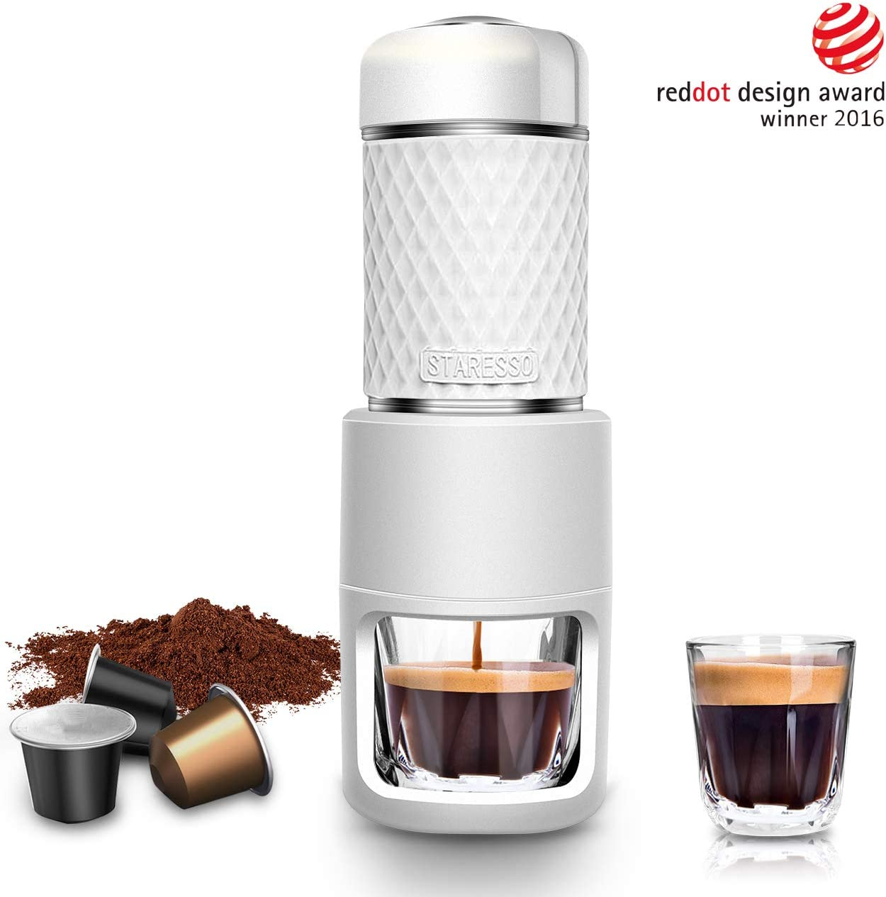STARESSO Portable Espresso Maker - Mini Espresso Machine with BPA-Free Material for Rich & Thick Crema Manual Espresso Compatible with Nespresso Pods & Ground Coffee Compact Travel Coffee Maker