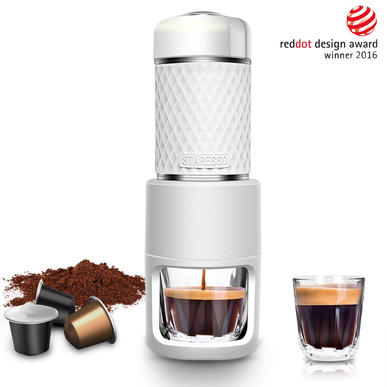 STARESSO Portable Espresso Maker, Mini Espresso Machine with BPA-Free Material for Rich & Thick Crema Manual Espresso, Compatible with Nespresso Pods & Ground Coffee, Compact Travel Coffee Maker