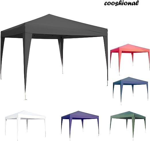 Gazebo plegable de tela Oxford, diseño pop-up impermeable, toldo al aire libre para fiesta, barbacoa o playa, 3 x 3 m, negro: Amazon.es: Jardín