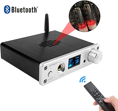 AIYIMA 6K4 Tube Preamp Bluetooth Preamplifier HiFi OLED Audio Preamp with Remote Control Home Audio Theater Silver
