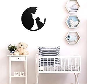 """Vinyl Wall Art Decal - Mom and Baby Cat - 22"""" x 22"""" - Cute Animal Home Bedroom Nursery Kids Room Decor - Cat Lovers Designs Indoor Outdoor Wall Door Window Living Room Office Sticker"""