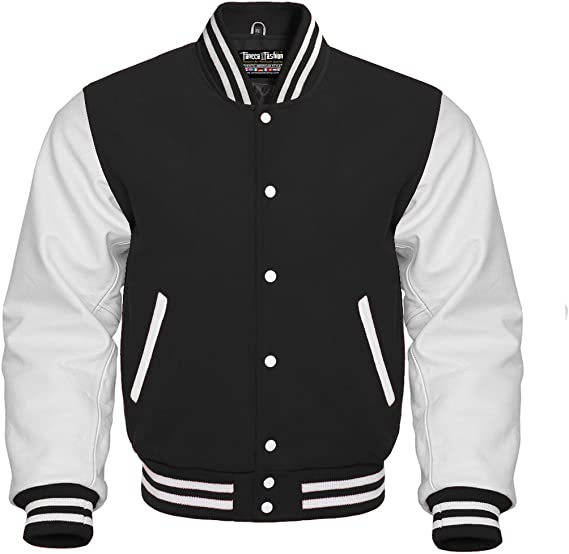 Details about  /Grey Wool Varsity Bomber Jackets With Black Real Leather Sleeves Letterman
