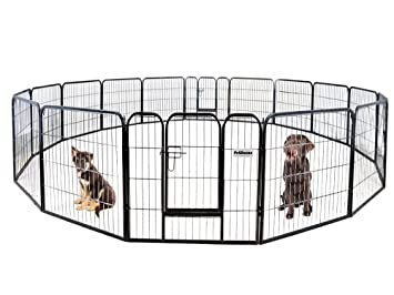 PetDanze Dog Pen Metal Fence Gate Portable Outdoor | Heavy Duty Outside Pet  Large Playpen Exercise