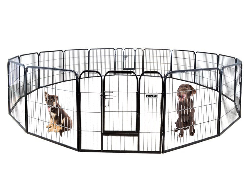 PetDanze Dog Pen Metal Fence Gate Portable Outdoor | Heavy Duty Outside Pet Large Playpen Exercise RV Play Yard | Indoor Puppy Kennel Cage Crate Enclosures | 32'' Height 16 Panel