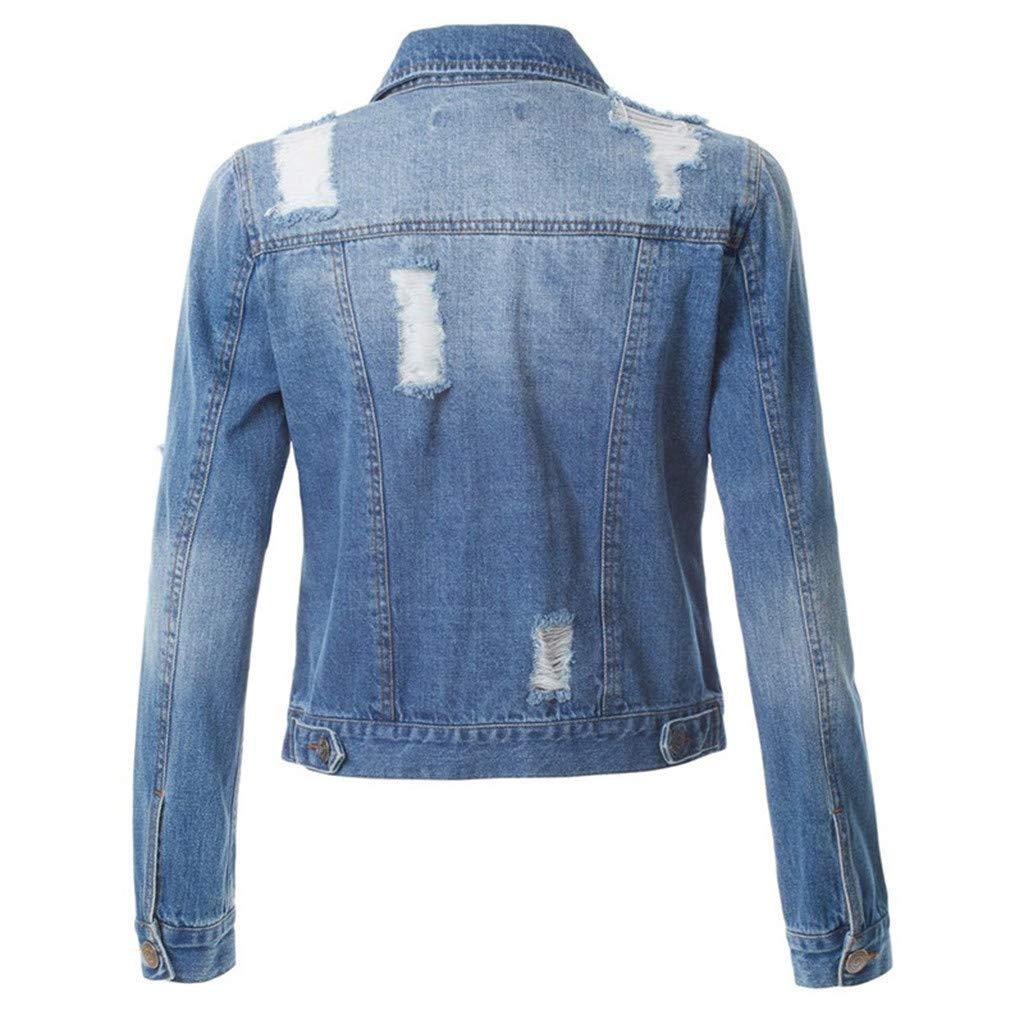 Fanteecy Women/'s Button Down Long Sleeve Cropped Denim Jean Jacket Slim Fit Vintage Denim Jean Jacket with Pockets