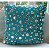 Handmade Turquoise Blue Throw Pillows Cover, Mirror Pillow Cover, 14''x14'' Cushion Covers, Square Velvet Pillow Covers, Geometric Modern Throw Pillows Cover -Aqua Reflections
