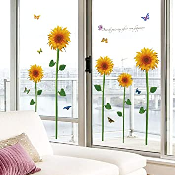 Girasol flores pared Sitkers decoración para el hogar sala de ...