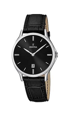 Festina , F16745/5 , Montre Homme , Quartz Analogique , Bracelet Cuir Noir