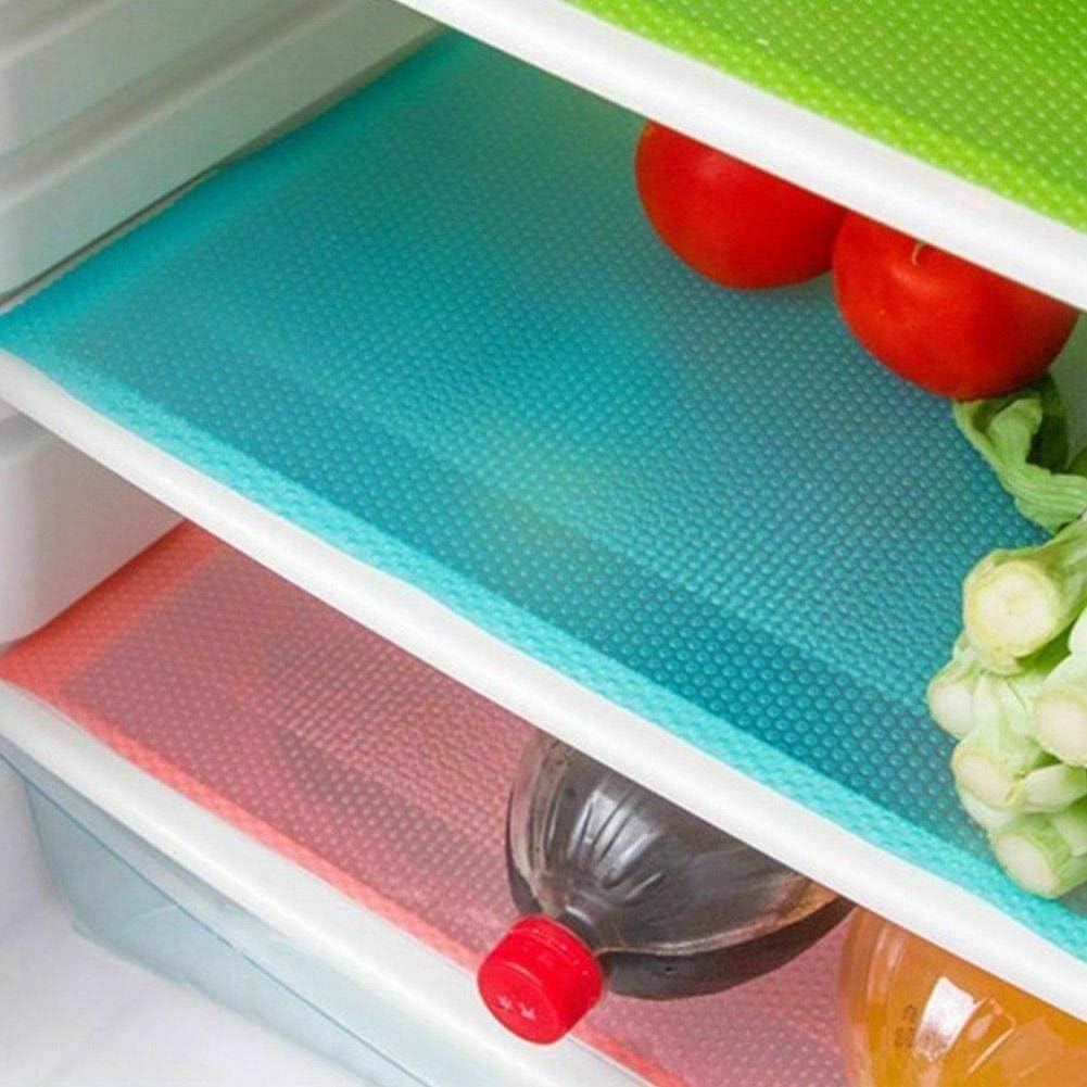 EVA Shelf Liners Refrigerator Liners Fridge Mats Drawer Table Placemats Blue warm-smile 4pcs Refrigerator Mats 11X17.7