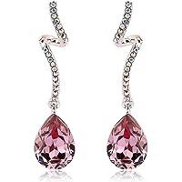 Richapex Pink Crystal Earrings Twist Teardrop Dangle Earrings Ear Studs