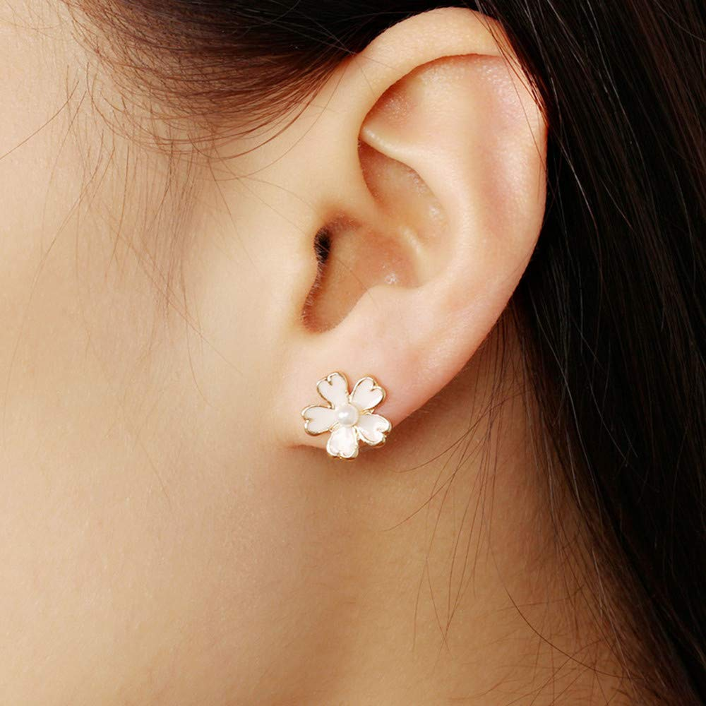 Kiorc Elegant Cherry Blossoms Flower Stud Earrings Womens Jewelry Gifts