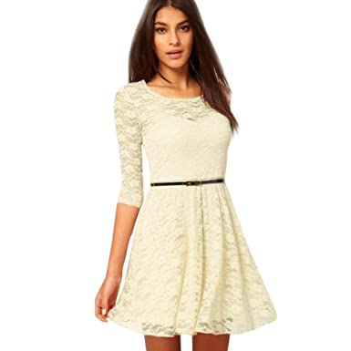 7c2a94f94b0 Amazon.com  Gyoume Lace Skater Dress Teen Graduation Ceremony Dress  Business Office Include Belt Dress  Clothing