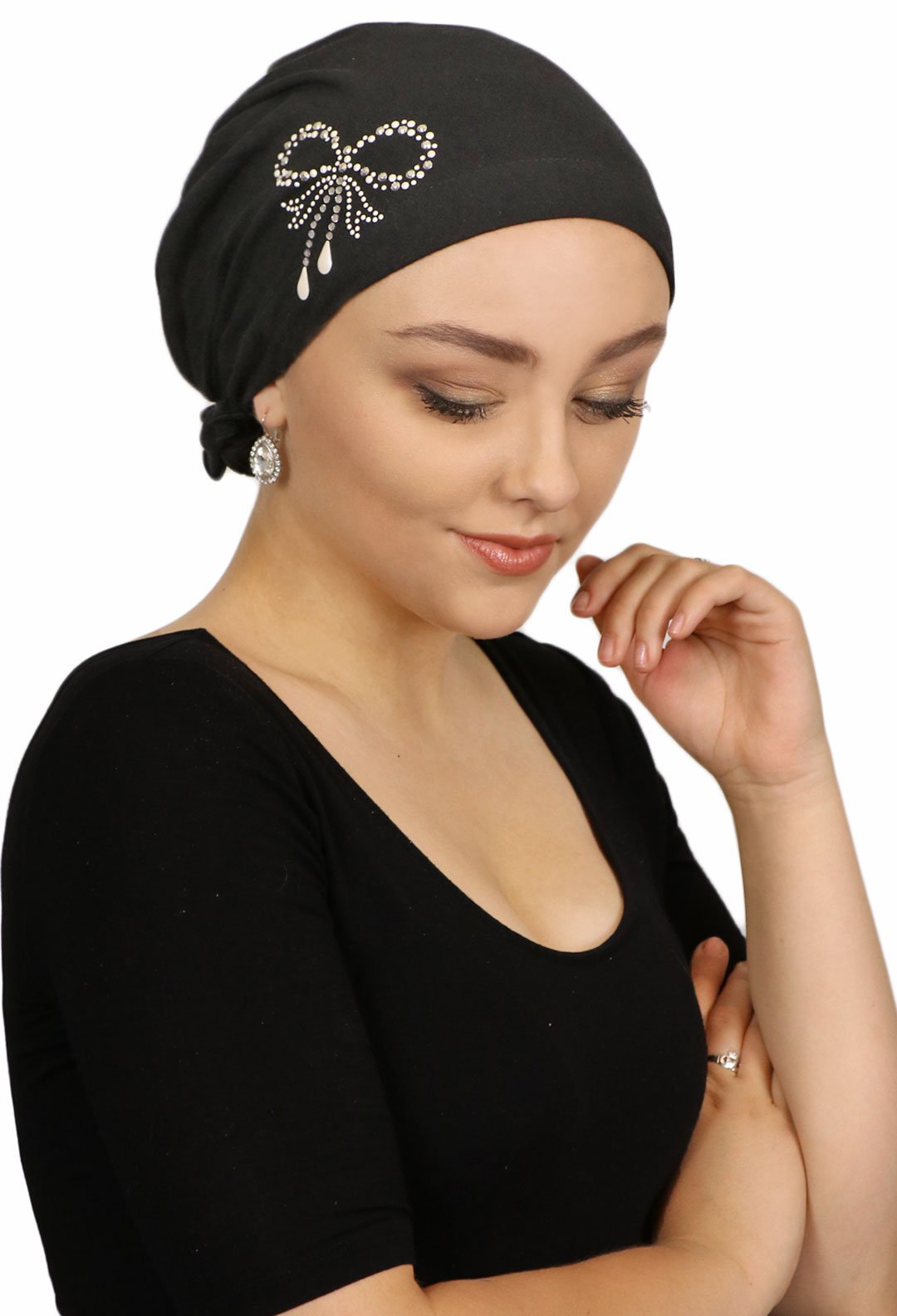 Celeste Chemo Scarves for Women Cotton Pretied Cancer Head Scarf Pearl Bow (BLACK)