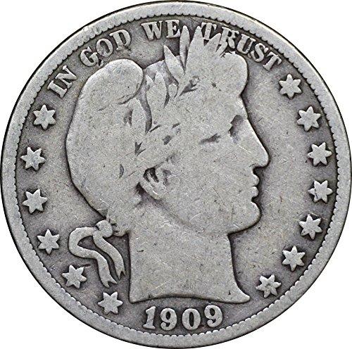 1909 U.S. Barber Half Dollar Silver Coin, Very Good Condition, Philadelphia Mint