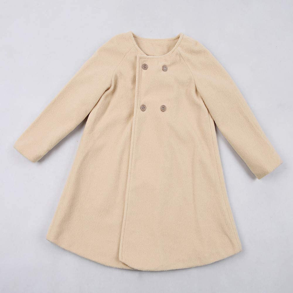SUNBIBE 0-5 Years Old Baby Infant Girl Autumn Winter Kids A-line Overcoat Outwear Cloak Button Jacket Coat Warm Clothes
