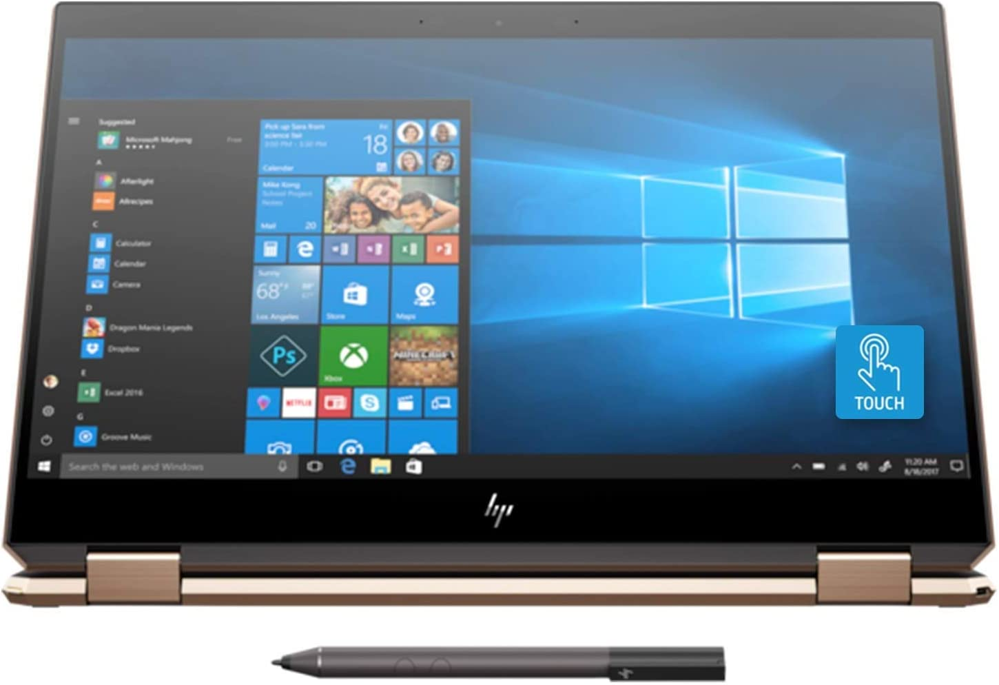 Newest HP Spectre x360 15t Touch AMOLED 10th Gen Intel i7-10510U with Pen, 3 Years McAfee Internet Security, Windows 10 Professional, HP Worldwide Warranty, 2-in-1 Laptop PC (16GB, 1TB SSD, Dark Ash)