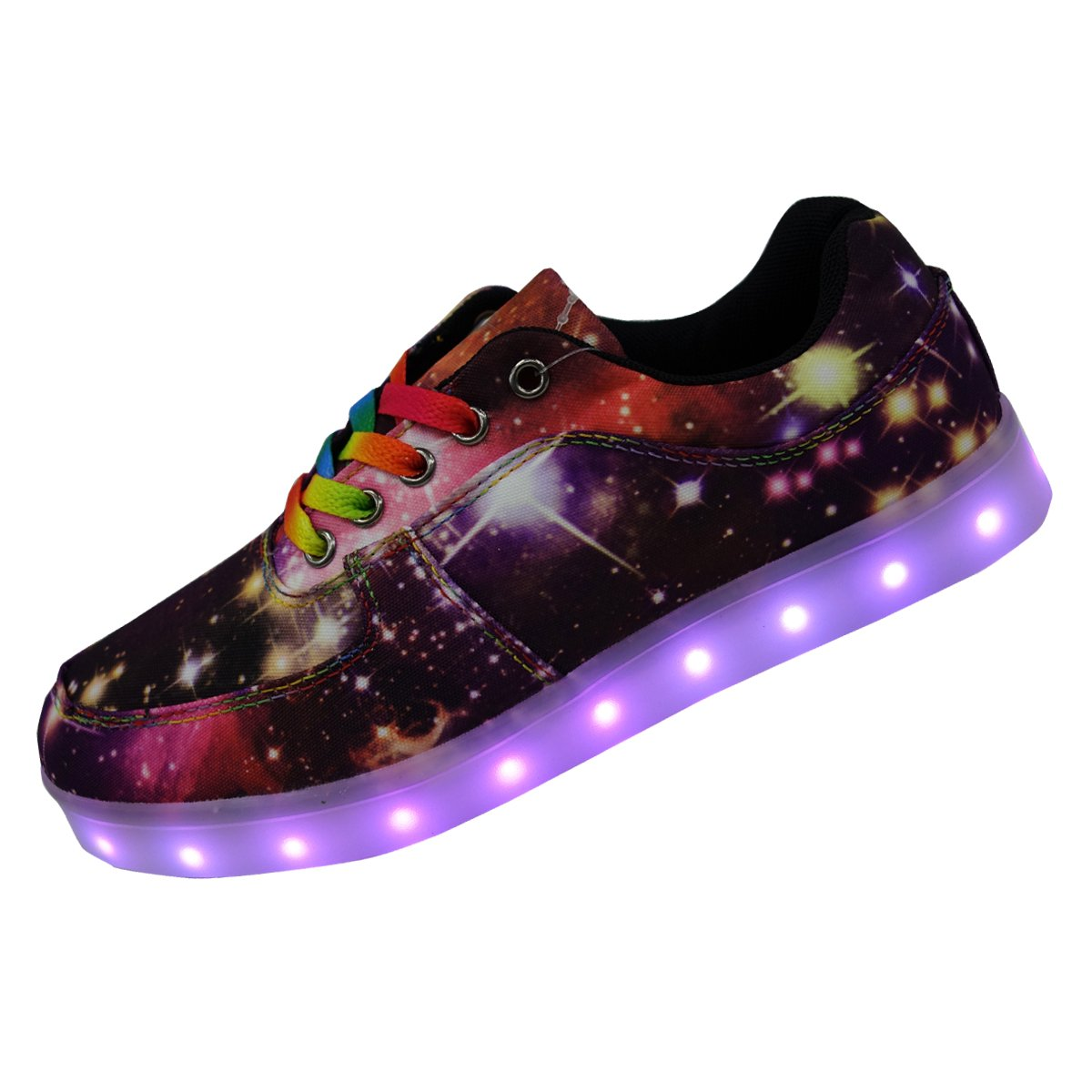 DAYOUT Unique Galaxy Print Led Light up Sneakers for Adults Mens Womens Luminous Canvas Shoes (Womens US 9.5 = EU 40, Purple)