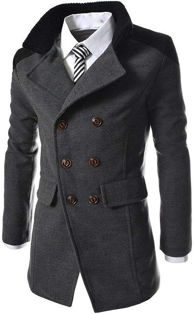 Herren Zweireihig Windbreaker Jacke Revers Mantel Jungen Langen Woll M/änner Fashion Nner Jacke Warme Winter Graben Lange Outwear Button Smart Mantel