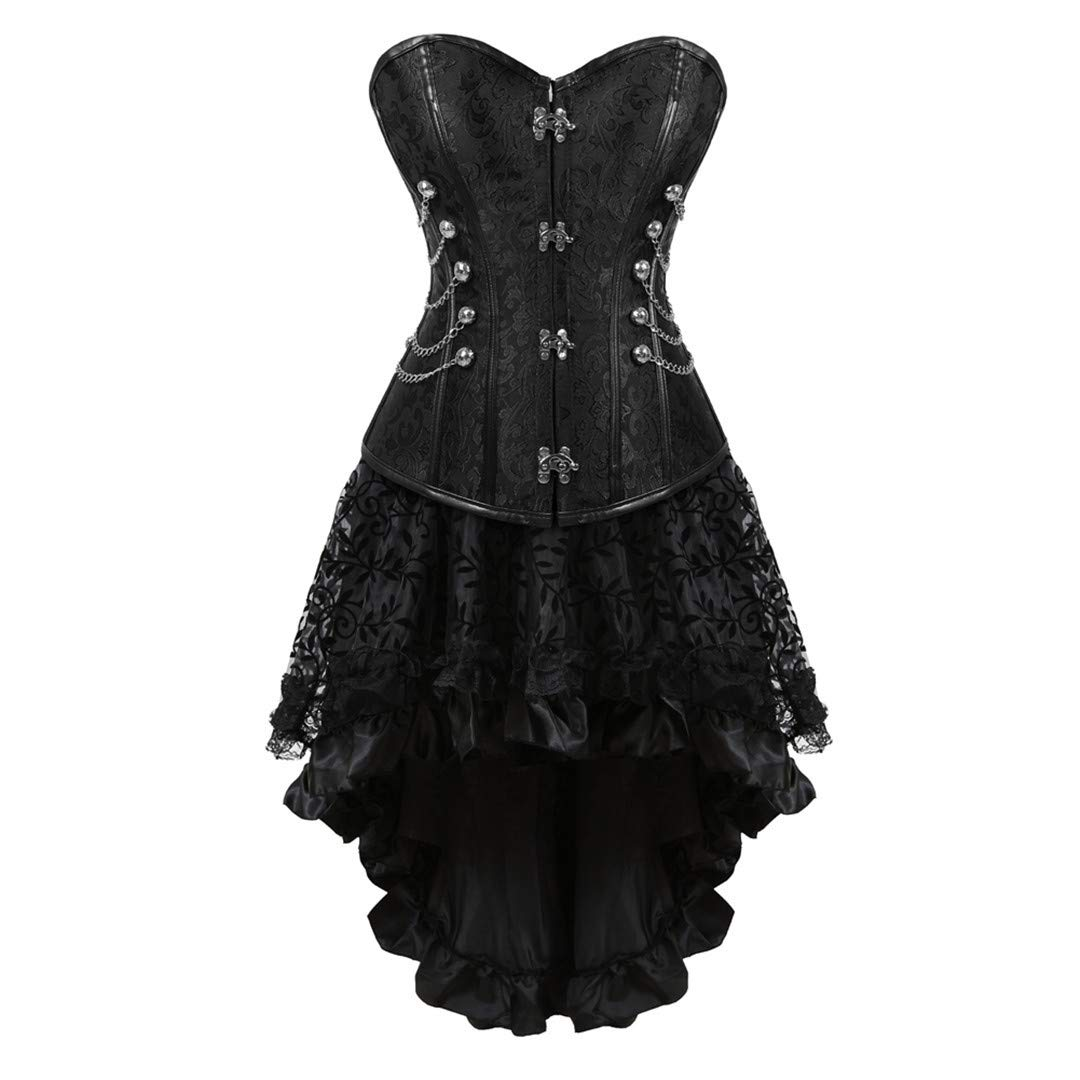 Womens Halloween Party Masquerade Gothic Brocade Lace Gothic Corset Skirt Set
