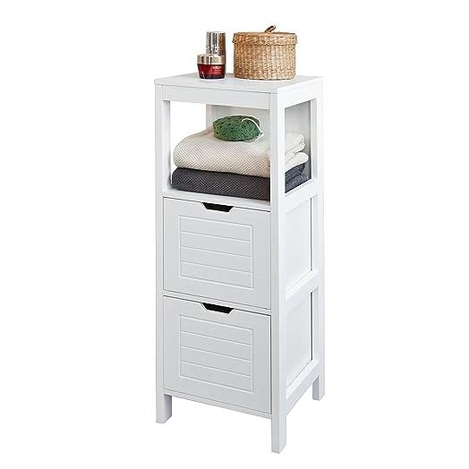 sobuy® mueble columna de baño, armario para baño - 1 estante y 2 ... - Muebles Toalleros Para Banos