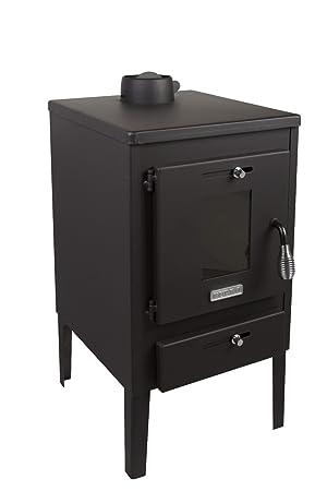 Estufa de leña Log quemador chimenea Mini 8 kW con tapa de ...