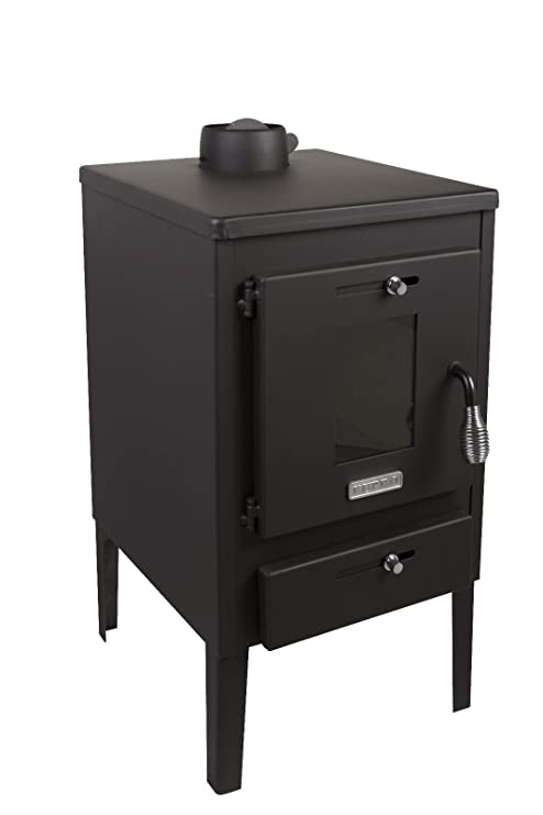 Estufa de leña Log quemador chimenea Mini 8 kW con tapa de acero y solapa