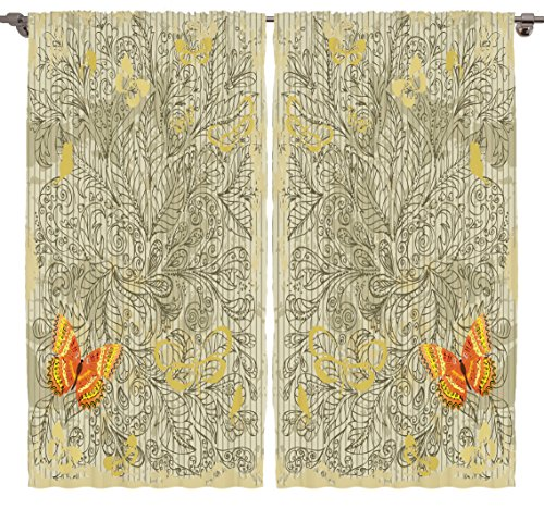 House Decor Paisley Curtains for Bedroom Living Room Curtains Two Panels Set Modern Family and Couples Art Prints Butterfly 108 X 84 Inch Curtains, Sand Yellow Orange