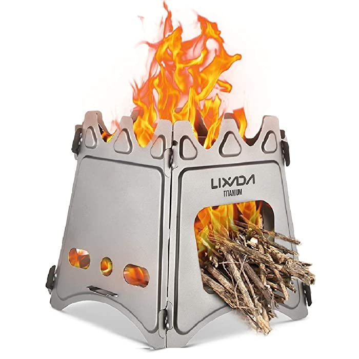 Lixada Camping Stove Wood Burning Stove Lightweight,Compact,Durable for Outdoor Backpacking Hiking Traveling Picnic BBQ