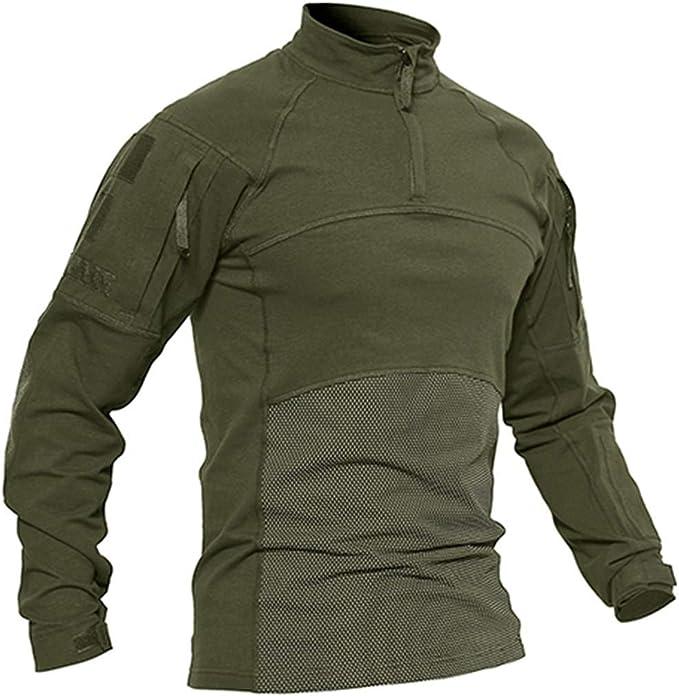 Hombre Camisetas tácticas Ropa Militar Algodón Manga Larga ...