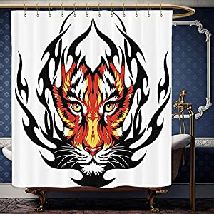 Wanranhome Custom-made shower curtain Tattoo Decor Jungles Prince Tigers Head in Black Flames Frame looking with Cat Eyes Black and Orange For Bathroom Decoration 72 x 72 inches