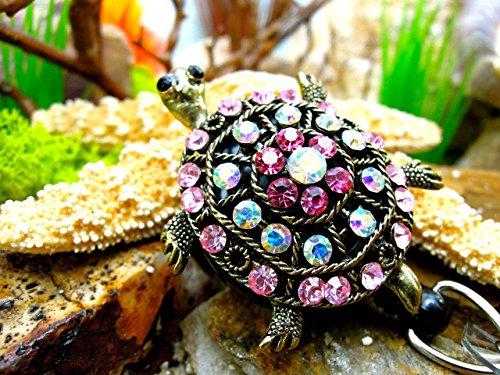 Turtle Badge Holder Crystal Name Tag Clip Bling Teacher Retractable ID Reel Nurse Pinning Graduation Ceremony Gift for Mom Ideas RN Rhinestone Jewelry Fancy Sea Ocean Beach Design Animal Accessory 63