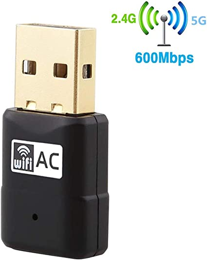 Wireless USB Wifi Adapter AC600Mbps Dual Band 2.4G//5GHz for PC Laptop /& Desktop