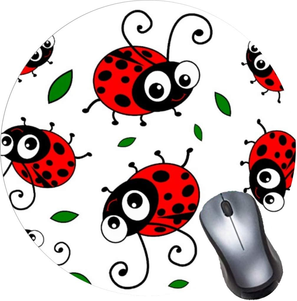 Gaming Computer Mouse Pad with Non-Slip Rubber Base, Premium Round Mousepads-Cute Ladybugs Pattern