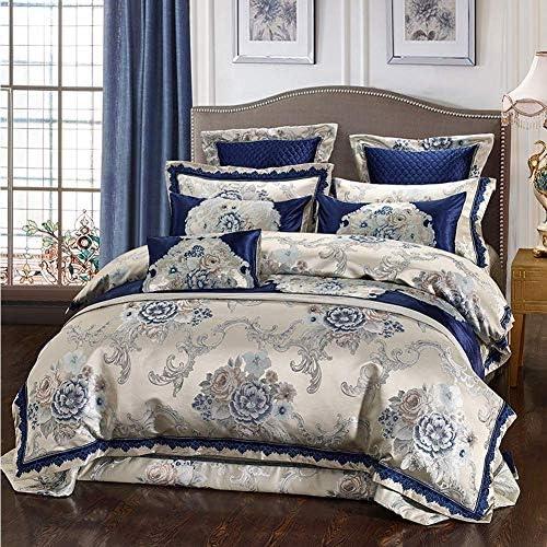 豪華なシルクジャカード布団カバーセット結婚式の寝具セットベッドカバー枕カバー4/6/9個布団カバーベッドキルトベッドリネン(ブルー、クイーンサイズ9個)