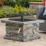 Elegant 29 Outdoor Patio Firepit w/ Iron Fire Bowl, Stone Base, & Mesh Cover
