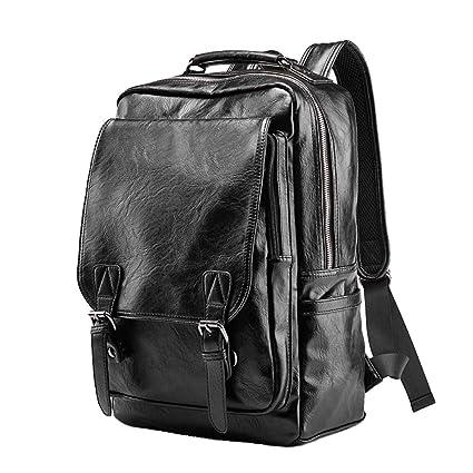 Mochila negra casual de cuero de la PU de los hombres, mochila de senderismo al aire ...