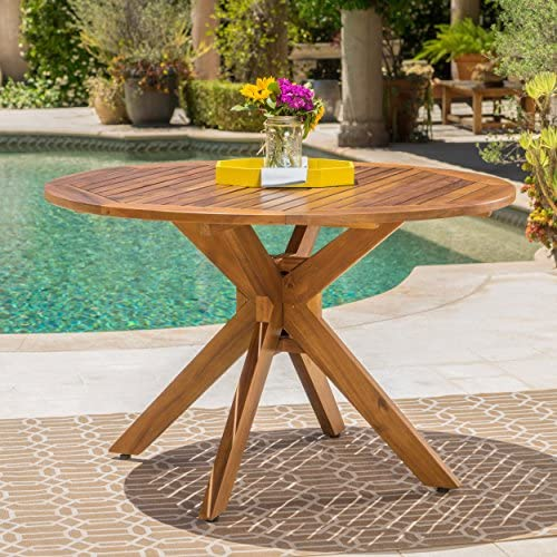 Stanford Outdoor Acacia Wood Dining Table Round