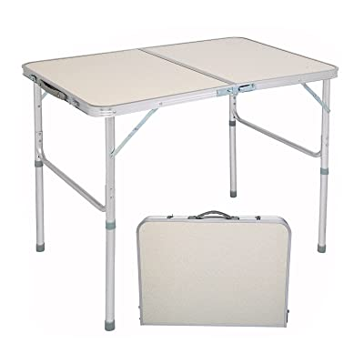 UK Heavy Duty Folding 3 Height Adjustable Camping Table Home Office Plastic Desk