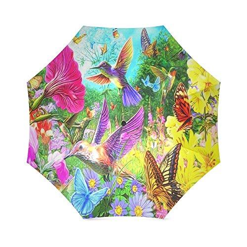 Golf Hummingbird (Cute and Beautiful Hummingbird Animal Pattern Anti Rain Windproof Travel Golf Sports Foldable Umbrella)