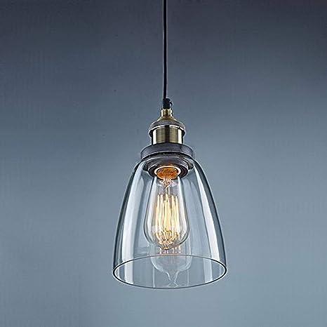 Unimall Lámpara de Techo Vintage Vidrio Colgante de Luz Industrial de Cristal para Salón Cocina Restaurante Cafetería (Bombilla No Incluída) [Clase de ...