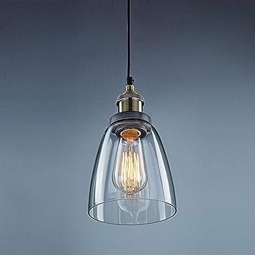 Unimall Lámpara de Techo Vintage Vidrio Colgante de Luz Industrial ...