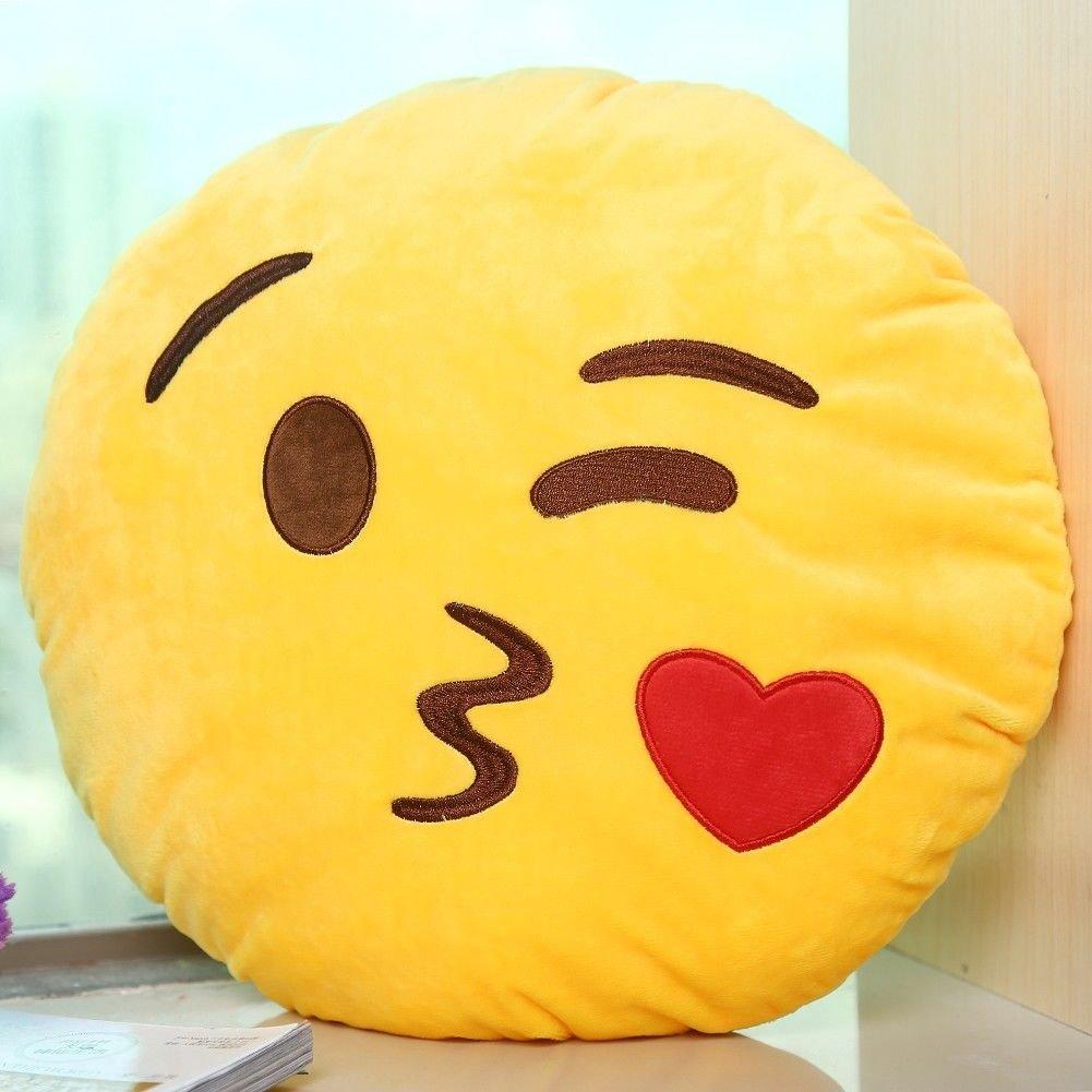 Emoji Emoticono Cojín Almohada Redonda Emoticon Smiley Peluche Bordado Sonriente: Amazon.es: Hogar