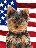 Cheap Caroline's Treasures KJ1160CHF USA American Flag with Yorkie Puppy/Yorkshire Terrier Canvas House Flag
