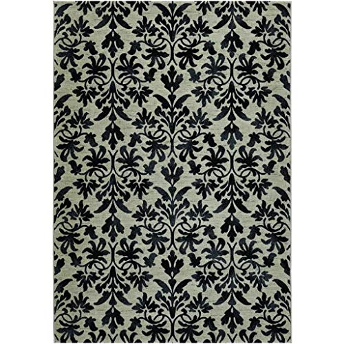 Couristan 6316/6333 Everest Retro Damask/Grey-Black 3-Feet 11-Inch by 5-Feet 3-Inch Rug
