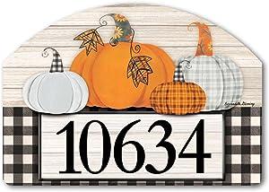 """Yard Design Studio M Plaid Pumpkin Address Sign - 14"""" x 10"""""""