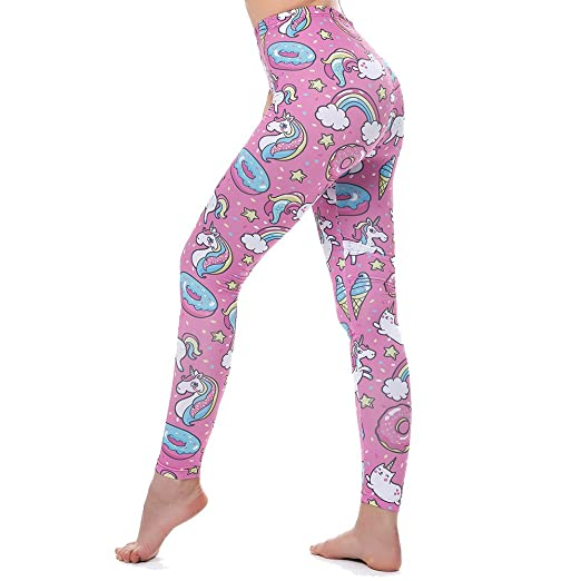 66456ee49b Image Unavailable. Image not available for. Color: KYKU Unicorn Leggings  Women Pink Yoga ...