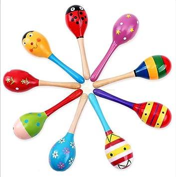 3x Wooden Maraca Rattles Musical Baby Children Shaker Kids Develop Toy Funny