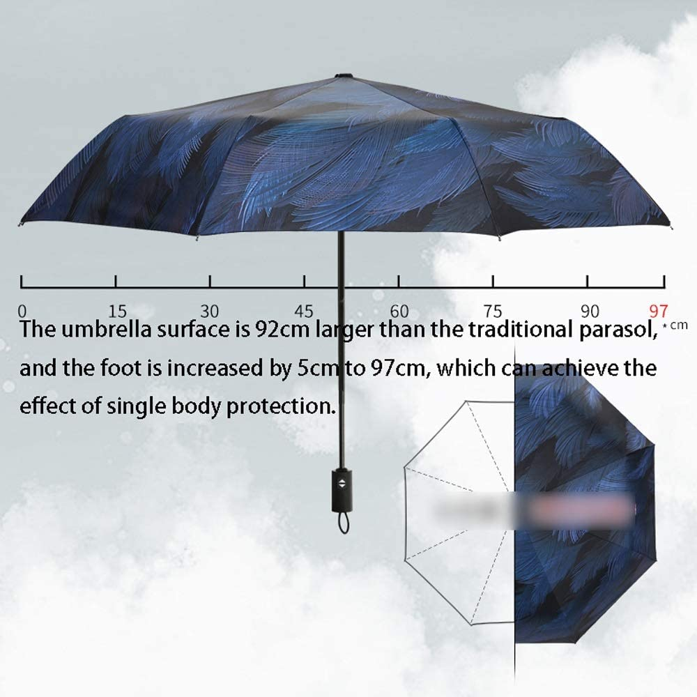 Edition : Triple Folding Automatic Jiu Si Automatic Umbrella Black Plastic Umbrella Sun Protection Umbrella UV Protection Rain Dual-use Pocket Umbrella Sun Umbrella